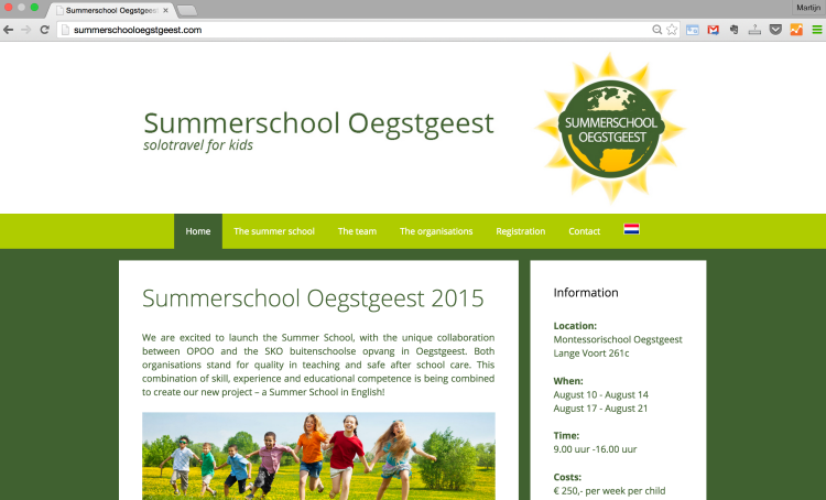wordpress website summerschool oegstgeest
