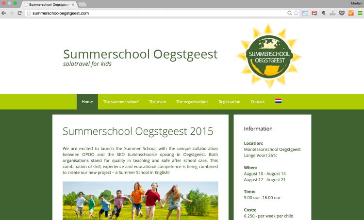 wordpress website summerschool oegstgeest