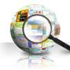 websites vinden, zoeken, wereldbol, vergrootglas