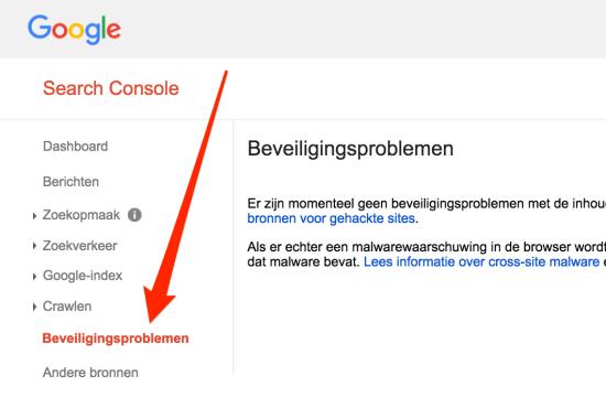 Google Search Console beveiligingsproblemen