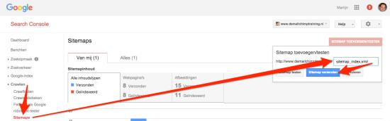 XML sitemap aanmelden bij Google
