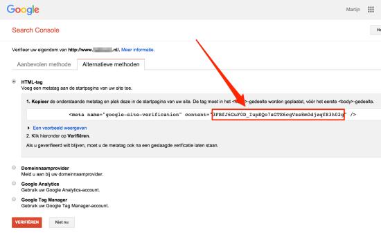 HTML tag Google Search Console