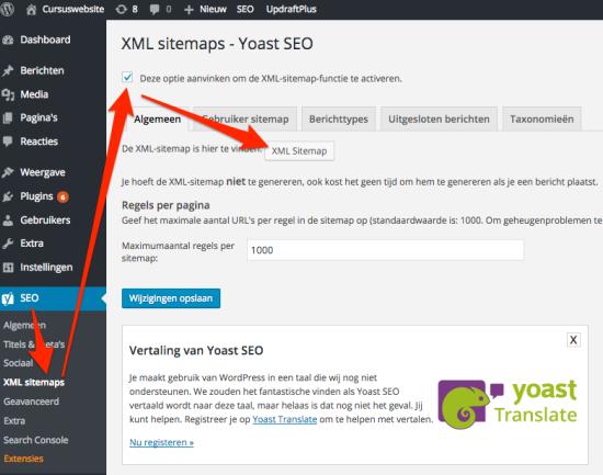 Yoast XML sitemap