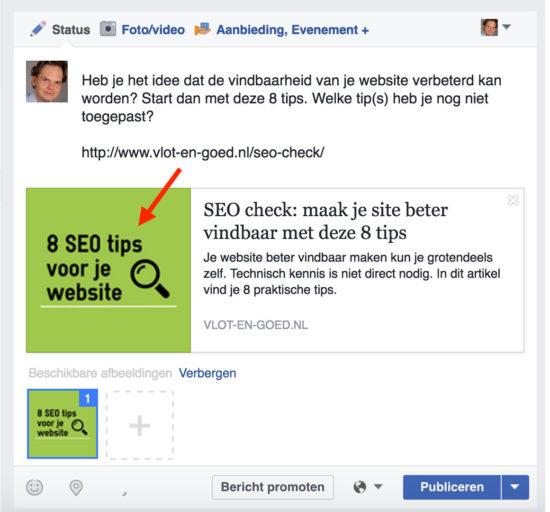 Kleine Facebook afbeeldingen WordPress