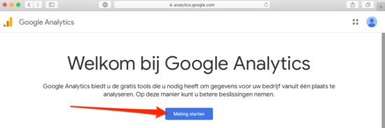 Google Analytics account aanmaken