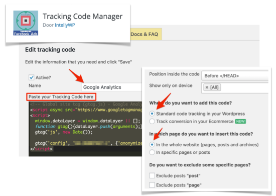 Google Analytics tracking code in WordPress HEAD plaatsen