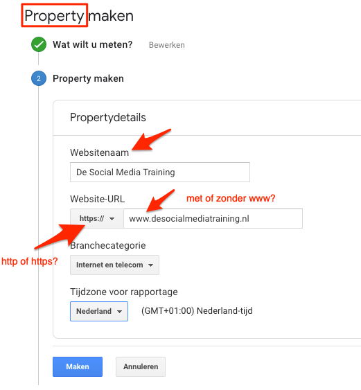 Google Analytics property instellen