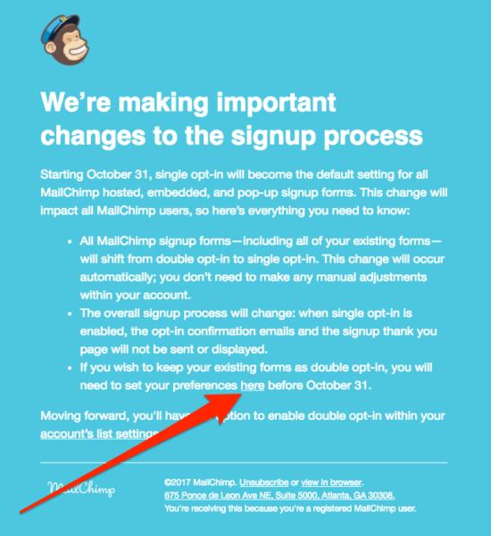 MailChimp opt-in wijziging