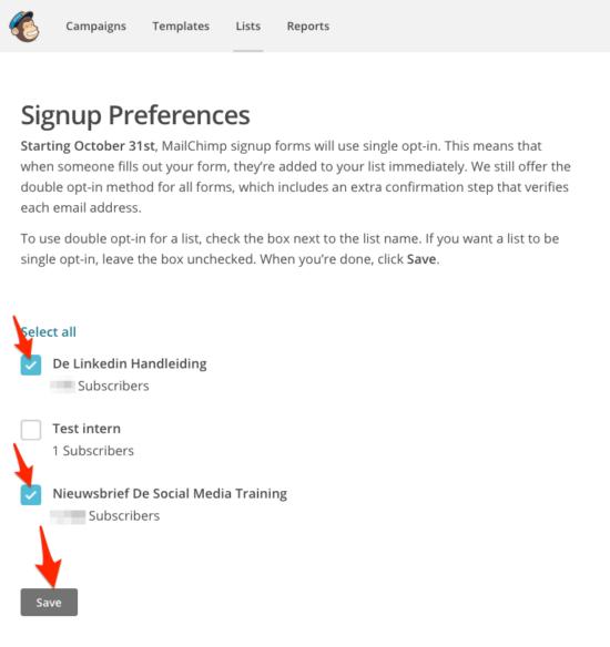 MailChimp opt-in instellingen wijzigen