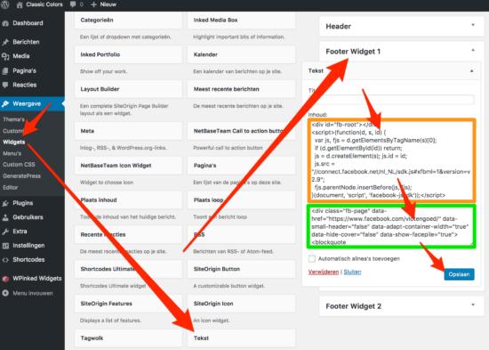 Facebook WordPress Plugin Like Box in tekst widget