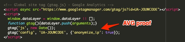Google Analytics AVG proof maken