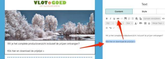 mailchimp bijlage toevoegen als link in tekst